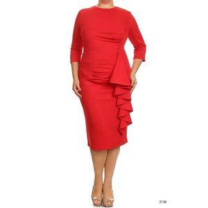 Red Hip Ruffle Bodycon Fitted Midi Dress NWT S
